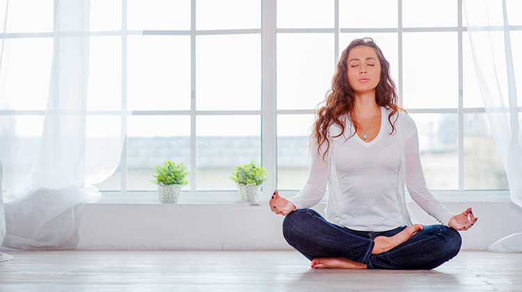 Woman Meditating and Affirming